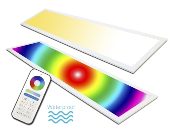 LED Panel RGB+CCT 120x30 plus WW+CW 60 Watt  wasserdicht IP65 mit Fernbedienung dimmbar