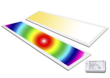 LED Panel RGB 120x30 plus WW+CW 36 Watt  warmweiß bis kaltweiß dimmbar und alle RGB Farben mit Zigbee