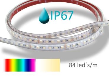 LED Streifen 5 Meter RGBWW 5050 IP67 84Leds/m 24Watt/m SMD Strip dimmbare Lichtfarbe 2700-6500K + RGB