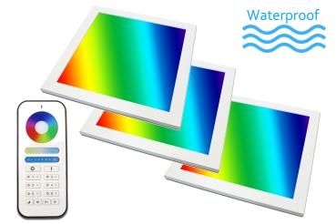 3er Set LED Panel IP65 RGB+CCT 30x30 PowerPlus 3x18 Watt  warmweiß bis kaltweiß dimmbar und alle 16 Mio. Farben mit Fernbedienung