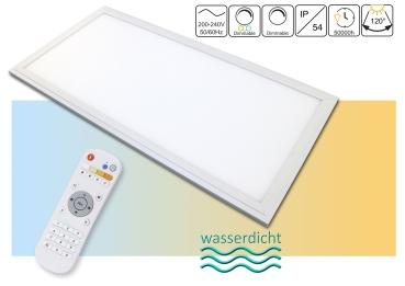 CCT LED Panel wasserdicht 60x30cm 36 Watt flimmerfrei Helligkeit bis 3600 Lumen und Lichtfarbe 3000-6500K mit Fernbedienung