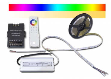 LED Strip RGB+CCT 5050 IP64 SMD Strip dimmbare Lichtfarbe 2700-6500K + RGB mit Fernbedienung 1 Set