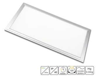 LED Panel 60x30cm 24 Watt TXL©  warmweißes Licht 3000K in silberoxid